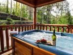 After a long day hiking or shopping, relax in the hot tub!