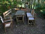 Extra dining table with benches in the ''forest''
