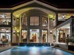 The luxurious villa at night