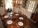 Dining for 6. Room is next to the porch
