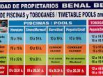 Horario piscinas y toboganes