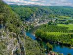 The Dordogne River with the beautiful village La Roque Gageac in the back ground