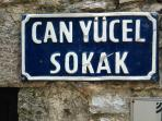 Famous Turkish poet Can Yucel street in old Datca.