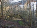 A glimpse of the viaduct over the Ruchey Burn, ten minutes walk from Boathouse Cottage