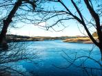 River Tweed shortly upstream of Boathouse Cottage. Even in winter there are beautiful walks