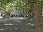 uzes main square and location of famous Saturday market