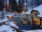 Pool area in the winter, with hot tub, dipping pool, sauna, with change room