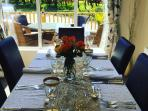 Dining table for 6 all set up for the private dining experience.