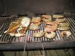 Amazing swordfish! - olive oil, oregano, lime & garlick.