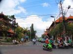 Ubud main street, a minute walk to our door.