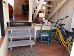 Entrance Foyer with a convenient Desk and storage spot for our two Bicycles.