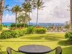 Lanai with beautiful ocean and pool views