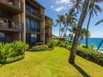 Oceanfront lawn looking towards your beautiful condo.