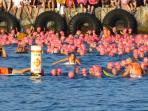 Athletes waiting for the start of the 2.4 mile swim, Ironman 2015.