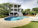 Rear view of the house and beautiful pool deck