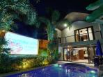 Private pool and projector screen