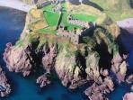 Aerial view of the historic Dunnottar Castle