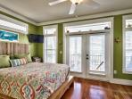 Second Floor Queen bed with Bunks, twin/twin/trundle