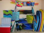 Beach toys, boogie boards, beach towels, sand toys & more for your use.