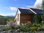 The Barn has spectacular views of the Berwyn Mountains.