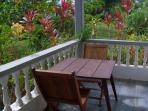 The veranda in the front of the cottage that looks towards the sea. Nice breakfast spot.