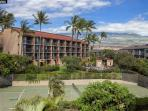 A view towards our lanai and the proximity of the pool and tennis courts