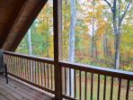 Fall view from upstairs balcony.   Smoking outside only.
