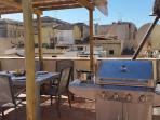 Large gas BBQ grill on the terrace