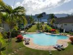 Spectacular view with 2 pools and manicured lawns and gardens