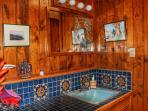 wood-paneled bathroom