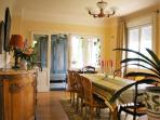 Thibault Villa France. Dining room from living room door