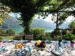 Dining under the Jasmine awning at Casa Cima