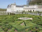 Gardens and chateau at Villandry a short drive 30 km drive from Rille.