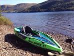 K1inflatable kayak available with paddle perfect for nearby Chattahoochie River and our own dock