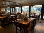 The Boatie Blest dining area and outdoor dining patio.