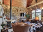 Inside, beautiful leather seating, stone and wood combine for a cozy Texas hill country experience