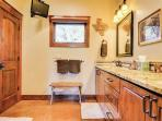 The Storybook cottage is equipped with a large spacious and immaculate bathroom with dual sinks
