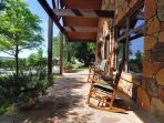 Outdoors is the private cottage patio with relaxing Texas Hill country scenery.