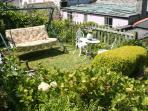Swing chair in the garden