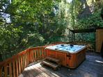 Stream side hot tub available year round.