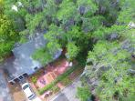 Birds eye view of Cottage through 200+ year old live mossy oaks