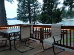 Back deck with lake view in the evening