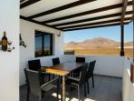 Ground floor terrace, mountain and sea views