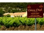 Our place lurking across the Chateau Agel Vineyards which was the point of the pic!