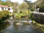 The Mill Stream flowing into the River Yeo.