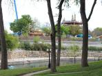 view of 'master blaster' in Schlitterbahn Water Park across river from condo