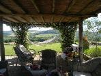 The shaded cozy jasmin pergola with lots of sitting, sofas and ammoc