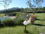 The 7.000 sq/mts garden facing west and the beautiful medieval Todi hilltown