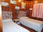 Habitación con cama de 105 y  90 y ventilador de techo