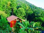 Chalé Vermelho- Red cottage at Casa Tambor. In total we have 3 cabins for renting.